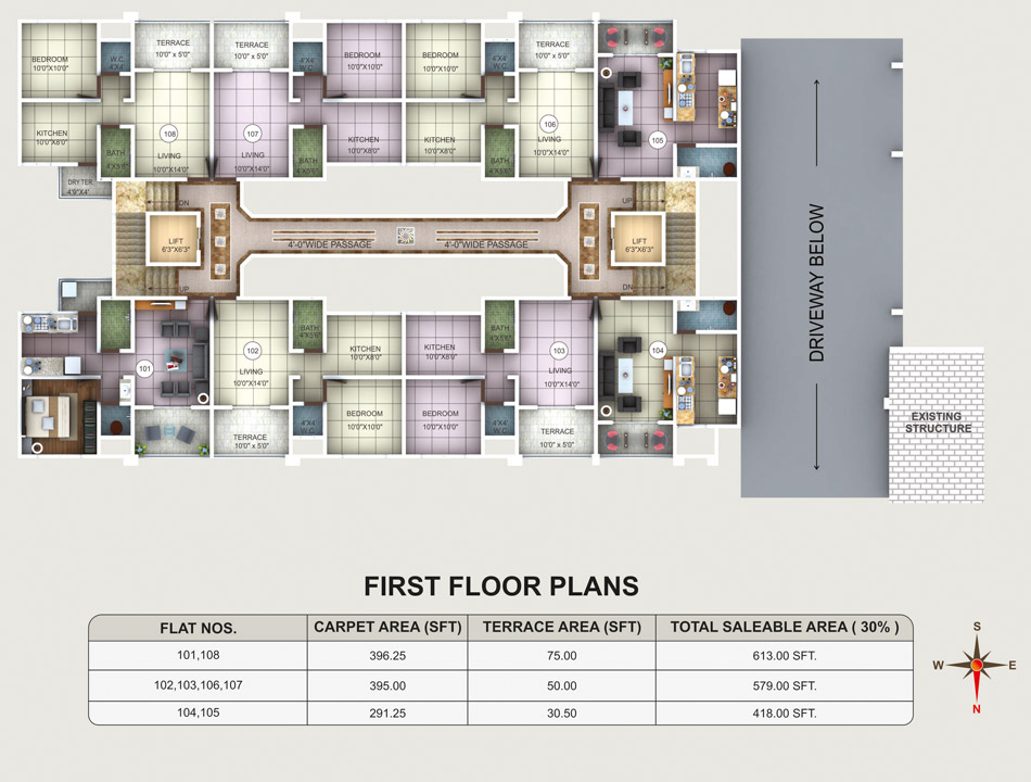 Kk classic 1 2 bhk well designed apartments at camp for Floor plan project